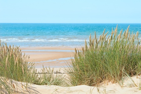 Arena de la playa de Formby, cerca de Liverpool, la costa oeste del norte de Inglaterra