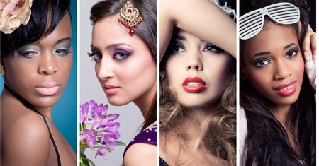Collage of 4 closeup beauty images of women of different ethnicities (asian/indian, caucasian, african, other) with creative colorful makeups. See full size images in my portfolio. Reklamní fotografie - 9055041