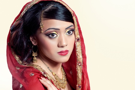 Beauty portrait of a young indian woman in traditional clothing, closeup shot Stock Photo