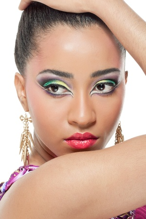 Beautiful young woman with colorful makeup, closeup shot photo