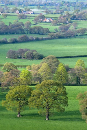 Spring evening view from Alderly Edge hills, near Manchester, Cheshire, UK, typical English landscape Stock Photo
