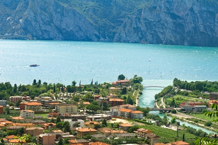 garda: View from Nago village on lake Garda and village Nago-Torbole, Northern Italy  Stock Photo