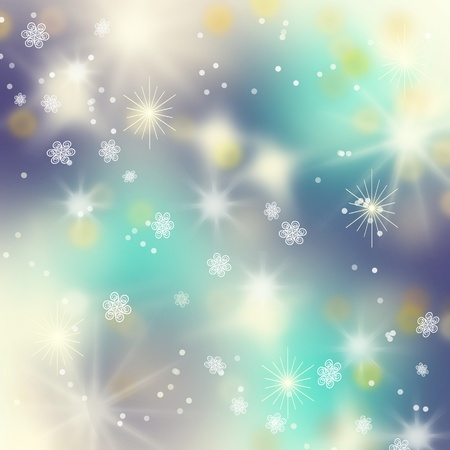 Beautiful golden winter background with snowflakes, Christmas Milky Way concept photo