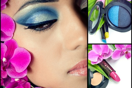 Collage of beautiful woman face and natural cosmetics sets