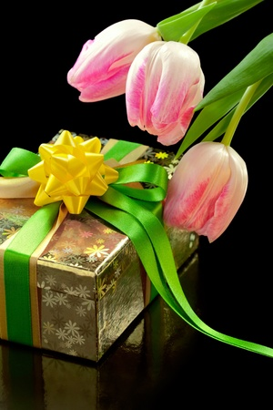 Pink tulips and gift box isolated on black background photo