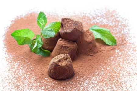 Handmade chocolate truffles with fresh mint heart-shaped dusted with cocoa powder, isolated on white photo