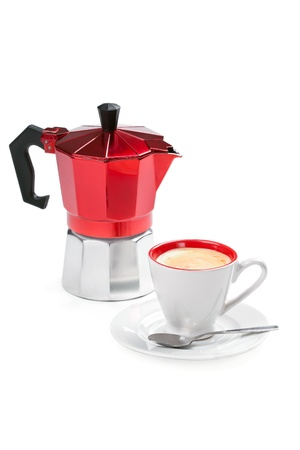 Coffee cup with espresso and moka (italian coffee maker), isolated on white  photo