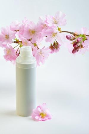 Daily skin care concept  face cream with sakura flowers Stock Photo - 12921597