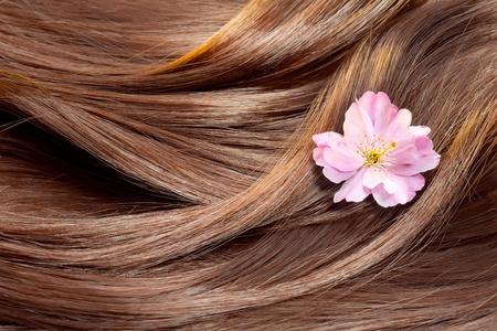 textura pelo: El concepto de cuidado del cabello: hermoso cabello sano y brillante, con vetas de oro destacadas y una flor de sakura Foto de archivo