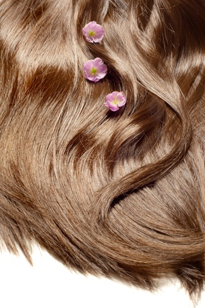 highlighted hair: Hair care concept  beautiful healthy shiny hair with highlighted golden streaks and sakura flowers