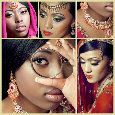 Collage of several asian fashion and beauty images photo