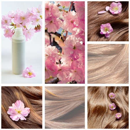 hair conditioner: Collage of hair care and hair beauty images with sakura flowers Stock Photo