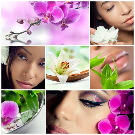 spa collage: Collage of beauty, makeup and spa theme photos, different models, orchids, lily flowers and bamboo