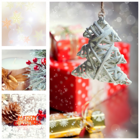 Collage with Christmas tree and decorations with Merry Christmas text photo