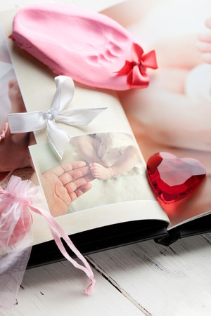 man shower: Baby s footprint and photobook