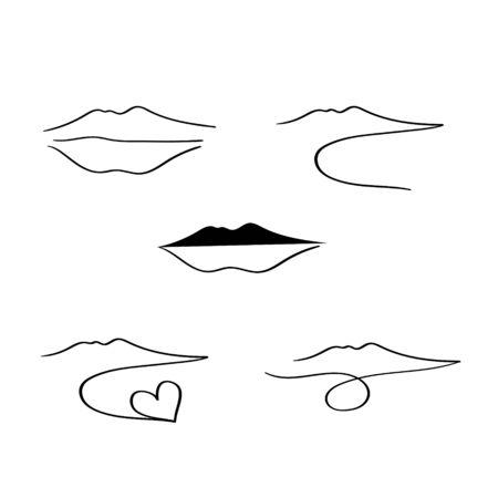 logo vector set Vesuvius volcano Naples black line 矢量图像