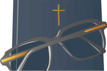 glasses on bible Illustration