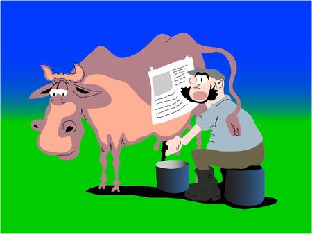 cow and farmer Stock Vector - 7529716