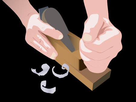 wooden plane in use Illustration