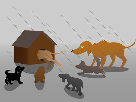 hiding from rain Illustration