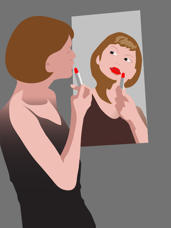 lipstick in the mirror Stock Vector - 7629149