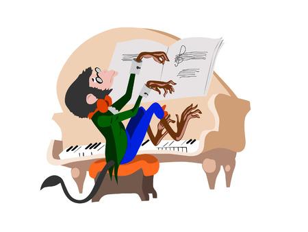 monkey pianist Illustration