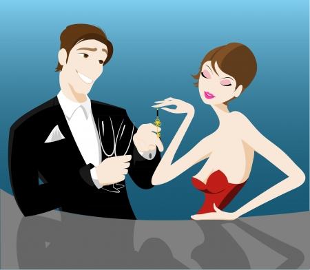 romantic couple flirting