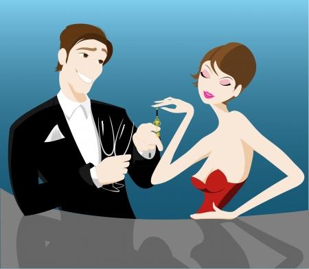 romantische paar flirten Stock Illustratie