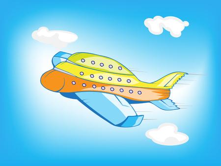 Flying Airplane Cartoon Vector Illustration