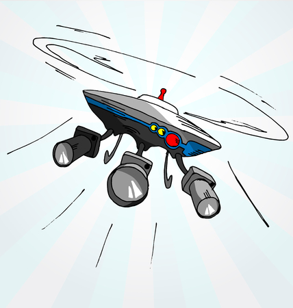 Hand drawn vector cartoon illustration of flying drone with cameras