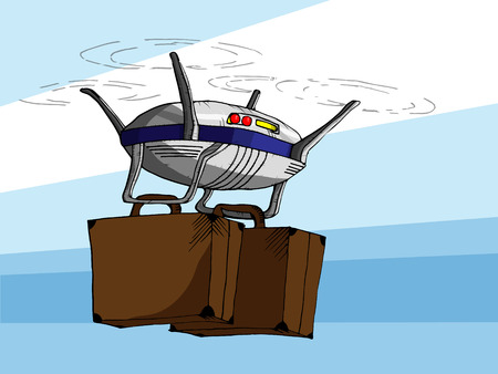 Hand Drawn Vector Illustration of Flying Drone with Two Suitcases.