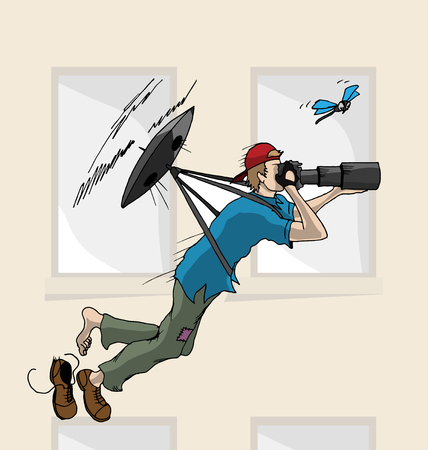 Hand Drawn Vector Illustration of Flying Drone with Photographer. Illustration