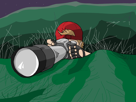 Hand Drawn Vector Illustration of Photographer Hiding on Mission
