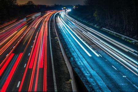 no background: Night View of UK Motorway Highway. Stock Photo