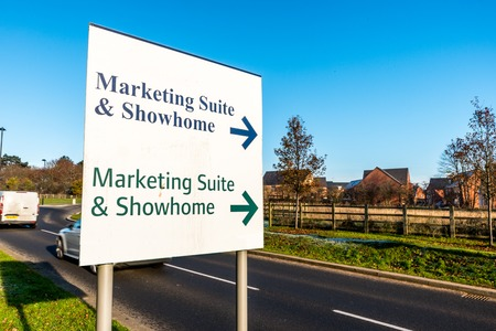 repossession: Marketing Suite Showroom Sign for New Build Development.
