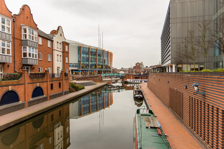 Day View of boat canal in Coventry City Centre Stok Fotoğraf - 75958873