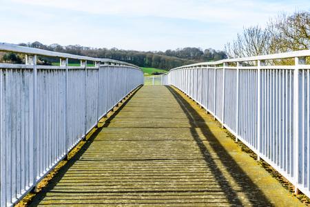 Day View Pedestrian bridge over UK Motorway Banco de Imagens