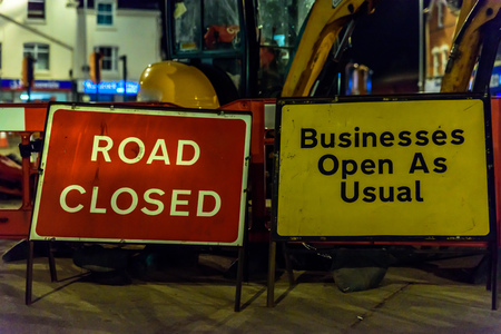 no movement: Road Closed and Business Open As Usual UK Roadworks Signs
