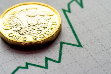 Nieuwe Britse pond sterling munt grafiek grafiek Stockfoto
