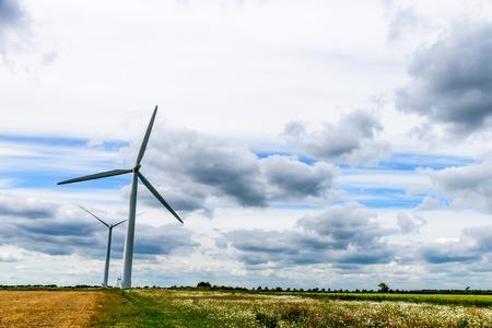 日ビュー風力発電タービン発電します。