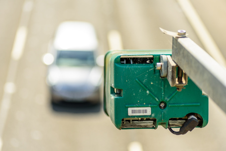 Day view of average speed traffic camera over UK Motorway Stock Photo