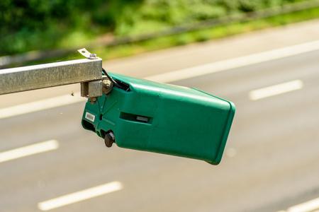 Day view of average speed traffic camera over UK Motorway Stockfoto