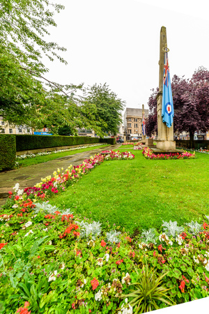 Northampton, UK - Aug 09, 2017: Cloudy rainy day view of Northampton War Memorial in Town Centre Stock Photo - 84380721