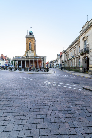 Northampton, UK - Aug 10, 2017: Clear Sky morning view of All Saints Church in Northampton Town Centre Stock Photo - 84693583