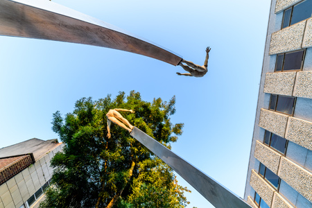 Northampton, UK - Aug 10, 2017: Clear Sky morning view of DNA Memorial at Abington Street in Northampton Town Centre Stock Photo - 84693593