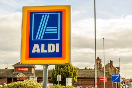 Northampton UK October 3, 2017: Aldi logo sign in Northampton town centre.