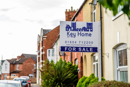 Northampton UK October 3, 2017: Key Home Estate Agents banner with property for sale text.