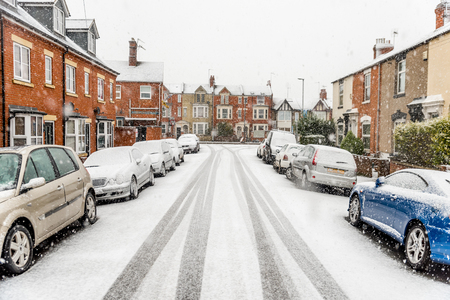 Snow covers England streets Stock Photo