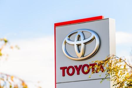 Northampton, UK - Oct 25, 2017: Day view of Toyota logo at Riverside Retail Park Editorial