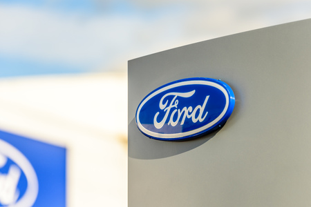 Northampton, UK - Oct 25, 2017: Day view of Ford logo at Riverside Retail Park